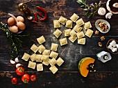 Homemade ravioli and ingredients
