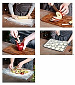Tarte flambée with sliced apple and courgette being made
