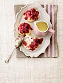 Raspberry bake with vanilla sauce