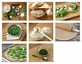 Vegetarische Gemüsepizza mit Petersilienöl zubereiten