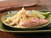Fried salmon with Chinese cabbage