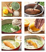 Mashed sweet potatoes with peas being made