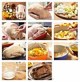 Christmas roast goose with mashed pumpkin and potatoes being made