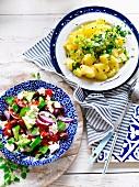 Greek salad & Potato salad