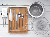 Kitchen utensils for making pasta salad