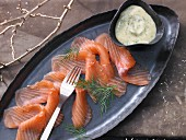 Marinated salmon with a mustard and dill sauce