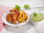 Roast chicken with chips and salad
