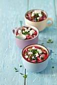 Kalte Buttermilch-Quark-Suppe mit jungen Rote-Bete- und Rübenblättern, Radieschen und Kräutern