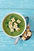 Cream of spinach soup with croutons