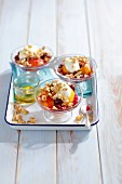Peach and sour cherry desert with mascarpone and muesli