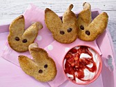 Wholemeal Easter bunny biscuits with strawberry quark