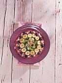 Raspberry, dragon fruit and banana smoothie bowl
