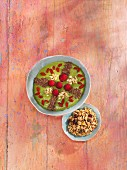A mango and baby spinach smoothie bowl