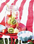 Fruit kebabs with fruit yoghurt