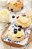 Lemon and blueberry scones with clotted cream and lemon curd