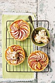 Apple tartlets with walnut and caramel ice cream