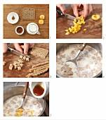 Brotbrei mit Aprikosen zubereiten