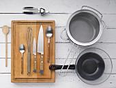 Kitchen utensils for making yoghurt and garlic sauce