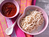 Sweet mie noodles with vanilla and damson compote