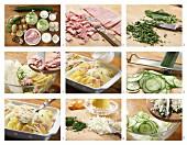 How to prepare potato and kohlrabi bake with cooked ham