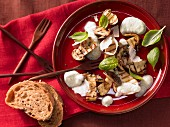 Grilled porcini mushrooms with pecorino cheese and basil foam