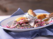 Soused herring and dill canapés with fried potatoes