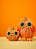 Pumpkin owls as Halloween decoration