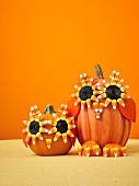 Pumpkin owls as Halloween decoration