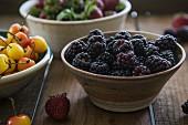 Blackberries, Rainier cherries and strawberries