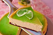 Cheesecake with white chocolate and green lime and basil jelly