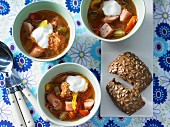 Sauerkraut & pepper soup with sausage