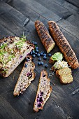Gluten-free bread and baguette with toppings