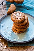 A stack of almond butter biscuits