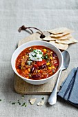 Quinoa chilli with yoghurt