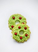 Green Christmas wreath cookies