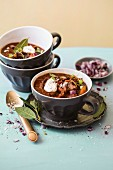 Goulash soup with pasta, peppers, red onions and sour cream