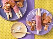 White asparagus wrapped in ham with Kratzete (pastries from Baden-Wuerttemberg)