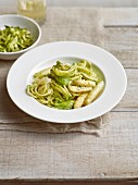 Spaghetti with green and white asparagus pesto