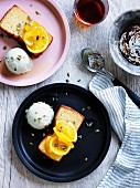 Olive oil cake with pumplin-seed ice-cream and candied orange