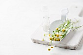 Chamomile and a bottle of globules