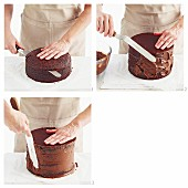 Preparing Semi-naked Chocolate Mud Cake