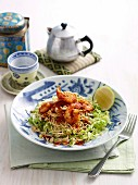 Prawn cabbage salad with Asian noodles
