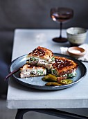 Chicken and provolone toastie with pickles and caper aiol