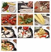 Spaghetti mit Calamaretti & frischen Tomaten zubereiten