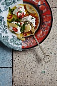 Labneh with lemon, chilli, mint and black sesame seeds