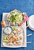 Swordfish Skewers with Coriander Pilaf