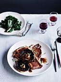 T-bone with roast mushrooms, red wine and rosemary