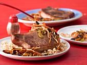 Roast pork chops with quick stir-fried vegetables