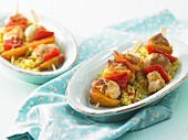 Chicken and pepper kebabs with couscous