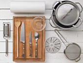 Kitchen utensils for preparing chicken fricassee